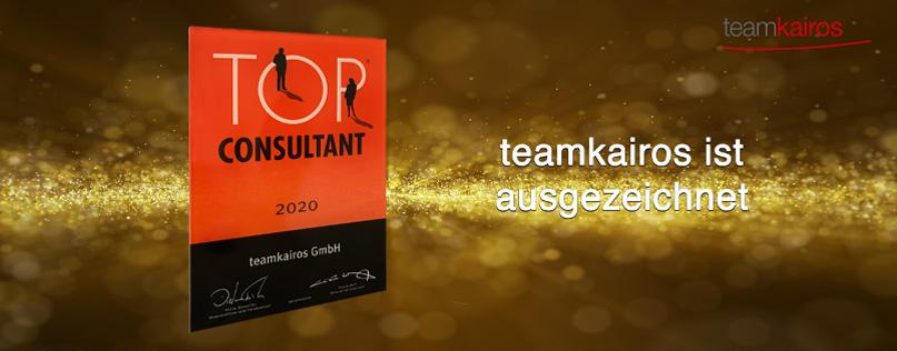 Top-Consultant-Auszeichnung für teamkairos | Future Leadership | Sales Excellence